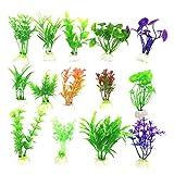 Sunfauo Plantas Naturales para Acuarios Plantas Acuario Acuario Plantas Artificiales Las Plantas para Acuario Planta de Agua de 15pcs