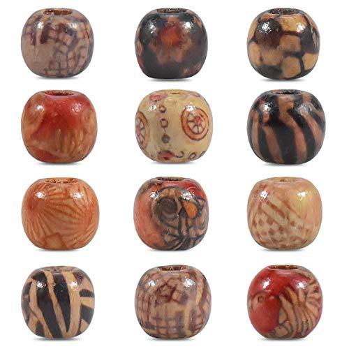 Dokpav Perline di Legno, 200pcs Stampato Perline di Legno Sciolto, perle per bigiotteria,Perline Legno per DIY,Creazione Gioielli, Artigianato, Bracciali, Fascia Capelli Decorazione