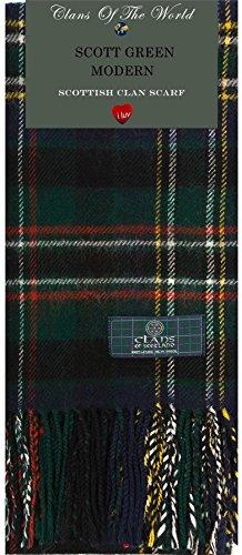 Scott Green Modern Tartan Clan Scarf 100% Soft Lambswool