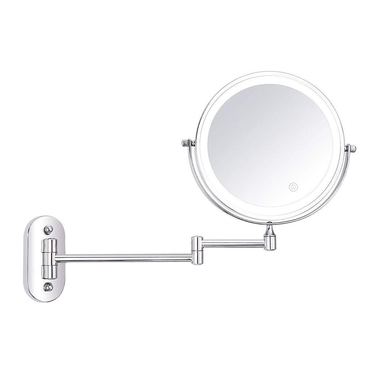 船横たわる高める化粧鏡 LED照明壁掛け化粧鏡3倍/ 5倍/ 7倍/ 10倍倍率8インチ両面回転タッチスクリーンバニティミラー拡張可能 浴室のシャワー旅行 (色 : 銀, サイズ : 10X)