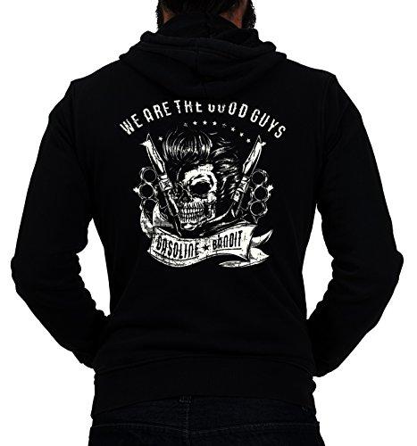 Gasoline Bandit® Design - Rockabilly Biker Racer Kapuzen-Jacke Zip-Hoodie: We Are The Good Guys-XXL