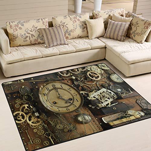 Use7?Steampunk Vintage Ancien Gears Zone Tapis Tapis Tapis pour Le Salon Chambre ¨¤ Coucher, Tissu, Multicolore, 203cm x 147.3cm(7 x 5 Feet)