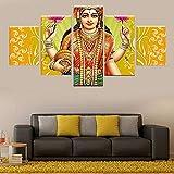 PEBROU Impresión de lienzo de 5 paneles India, mitos, personajes, diosas 150x80cm Sala de estar dormitorio cocina oficina hotel decoración de pared perfecta