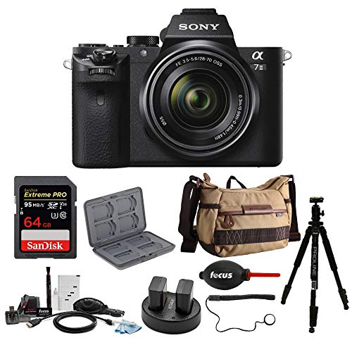 Sony Alpha a7II Interchangeable Digital Lens Camera with 28-70mm Lens and 64GB Deluxe Accessory Bundle