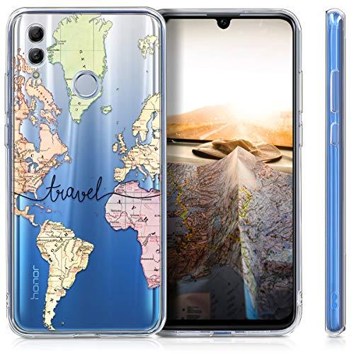 kwmobile Huawei Honor 10 Lite Hülle - Handyhülle für Huawei Honor 10 Lite - Handy Case in Travel Schriftzug Design Schwarz Mehrfarbig Transparent - 5