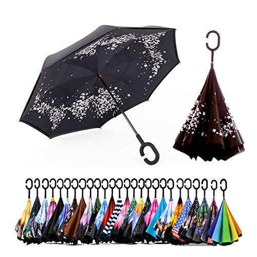 Spar. Saa Double Layer Inverted Umbrella with C-Shaped Handle, Anti-UV Waterproof Windproof Straight Umbrella for Car Rain Outdoor Use (Sakura)