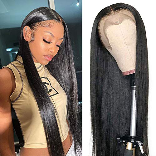 Straight Lace Front Wigs Human Hair 30 Inch Brazilian Virgin Human Hair Wigs Pre Plucked 13x4 Frontal Wigs For Black Women Human Hair Lace Front Wigs with Baby Hair 180% Density (30 Inch)
