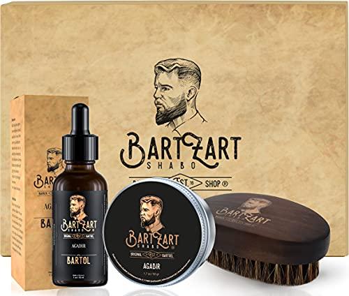 BartZart Shabo set de 3 piezas para el cuidado de la barba con aceite para barba, cera para barba y cepillo para barba con aroma a almizcle