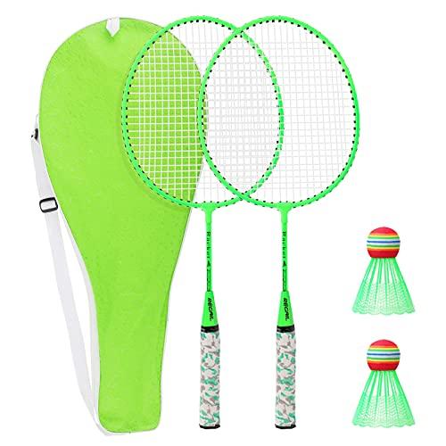 LINGSFIRE Zestaw do badmintona dla dzieci, lekka rakieta do badmintona dla dzieci zabawki do badmintona z 2 rakietami do badmintona i 2 lotki dla rodzic-dziecko sport gry wewnątrz na zewnątrz, w zestawie torba (zielona)
