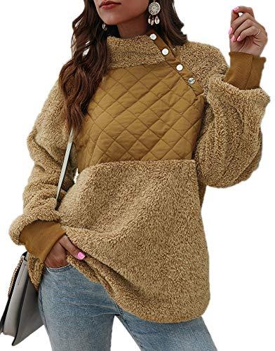 GRACE KARIN dames pullover rolkraag lange raglanmouwen patchwork fleece warme winterjas