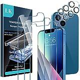 LK [3+3 Pack Protector de Pantalla Compatible con iPhone 13 6.1 Pulgada,3 Pack Cristal Templado y 3 Pack Protector de Lente de cámara, Doble protección, Kit de Instalación Incluido