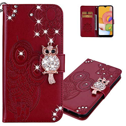 LEMAXELERS Galaxy S9 Plus Case Owl Pattern Glitter Sparkly Gems Shockproof PU Leather Wallet Cover Flip Stand Card Slots Magnetic Silicone Bumper Folio Case for Samsung Galaxy S9 Plus Red YK