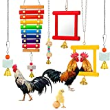 6 Pieces Hen Chicken Toys for Coop, Chick Toys, Chicken Mirror Toy with Bells,...