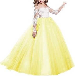 2008319c27 IWEMEK Vestido de Niña de Flores de Appliques de Cordón Tul Princesa Boda  Vestidos de Dama