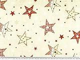 Zanderino ab 1m: Dekostoff, Weihnachten, natur-rot, 140cm