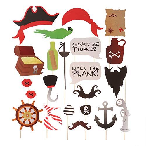 Amosfun Piraten Photo Booth Requisiten Halloween Foto Requisiten Kreative Piraten Themen Foto Requisiten Kit DIY Lustige Papier Selfie Requisiten Kindergeburtstag Gastgeschenke 22 stücke