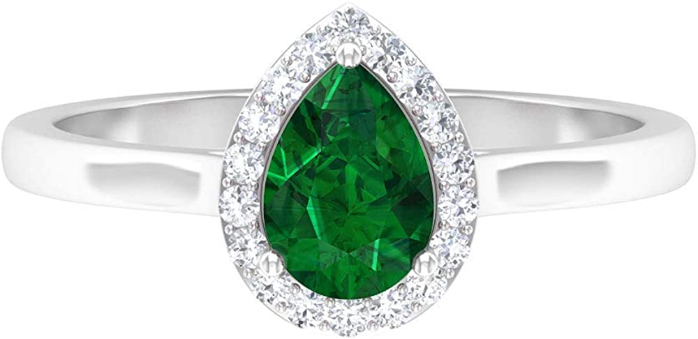5X7 MM Pear Genuine Free Shipping Shaped Emerald Ring Halo Diamond HI-SI Teardr online shopping