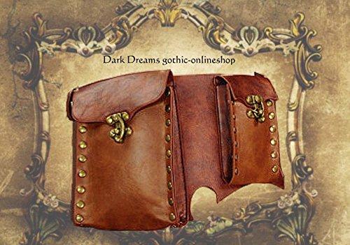 Dark Dreams Steampunk Larp Mittelalter Gürtel – Tasche Waistbag 'Steam' braun, Größe:L - 3
