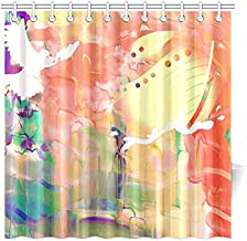 Home Decor Bath Curtain Watercolour Watercolor Painting Paint Ink Blend Polyester Fabric Waterproof Shower Curtain for Bathroom, 72 X 72 Inch Shower Curtains Hooks Included