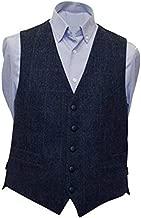 Men's Irish Tweed Vest Navy Herringbone Wool Full Back Made in Ireland
