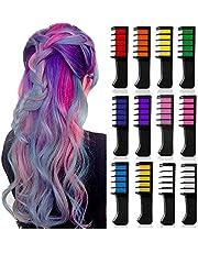 12 färger tillfällig ljus hårfärg krita kam set för flickor barn vuxna, Kalolary tvättbart hår krita för flickor ålder 4 5 6 7 8 9 10 födelsedagsfest Cosplay DIY barnens dag, alla hjärtans dag gåva för kvinnor
