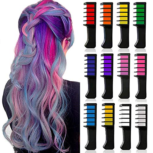 12 Colors Temporary Bright Hair Color Chalk Comb Set for Girls Kids Adult, Kalolary Washable Hair Chalk for Girls Age 4-10 Birthday Party Cosplay Children's Day, Gift for Women