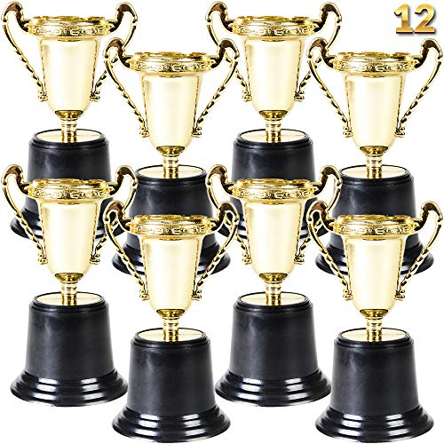 Gold Award Trophy Cups - Pack of 12 Bulk - 5 Inch Plastic Gold Trophies for Party Favors, Props, Rewards, Winning Prizes, Competitions for Kids and Adults by Bedwina