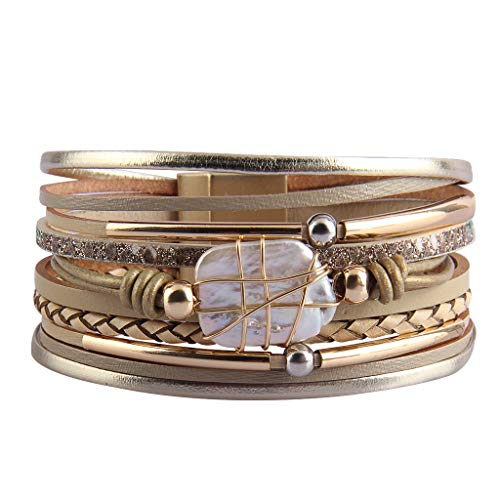 GelConnie Baroque Pearl Leather Cuff Bracelet Multi Strand Wrap Bracelets Magnetic Bohemian Bracelet for Women, Wife, Sister LPB325-Beige