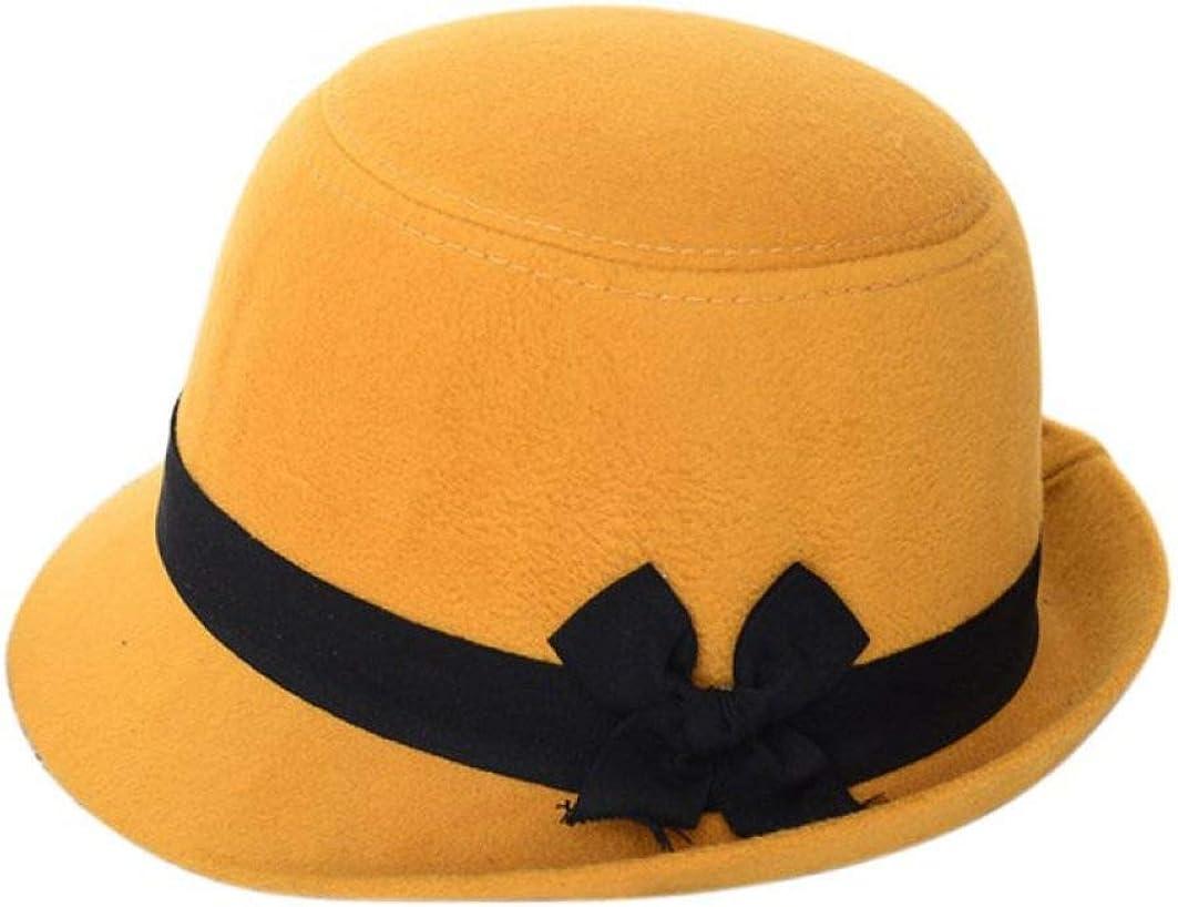 DOSOMI Womens Winter Warm Cloche Bucket Hat Retro Wool Felt Bowler Derby Caps Ladies Bow Knot Fedora Hats