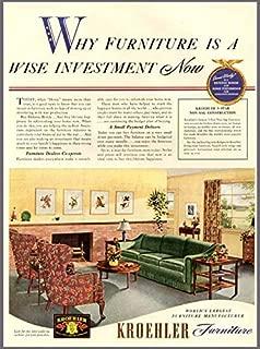 40's Living Room Decor in 1942 KROEHLER Furniture AD Original Paper Ephemera Authentic Vintage Print Magazine Ad/Article