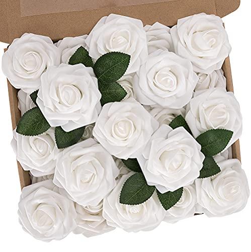 N&T NIETING Künstliche Blumen Rosen, 25 Stück Deko Blumen Fake Rosen mit Stielen DIY Hochzeit Blumensträuße Braut Zuhause Dekoration, Weiß