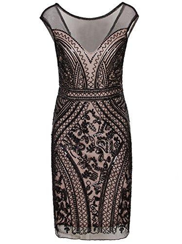 Vijiv 1920s Short Prom Dresses V Neck Inspired Sequins Cocktail Flapper Dress,Black Beige,Large