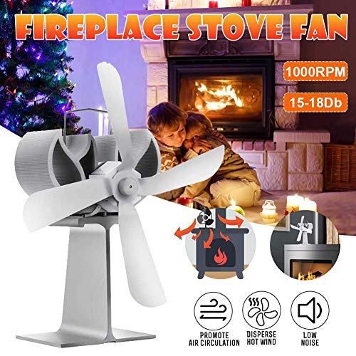 BTCCL Kamin Fan 4 Blatt-Ventilator Hitze Powered Holzofen Eco Fan Freundlich Quiet Home Effiziente Wärmeverteilung Weiß