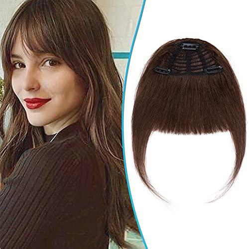 Frangia Clip Capelli Veri Donna Extension Frangia Non Diluita 25g Remy Human Hair Bang Lisci Frangetta con Tempie - 4 Marrone Cioccolato