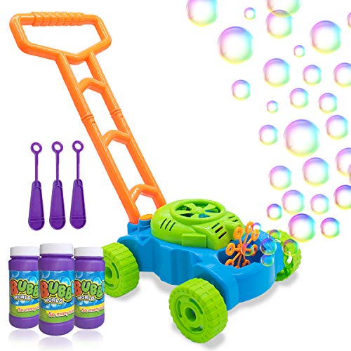 Lydaz Bubble Mower for Toddlers, Kids Bubble Blower Machine Lawn Games, Outdoor Push Toys, for Preschool Baby Boys Girls 1 2 3 4 5 Years Old