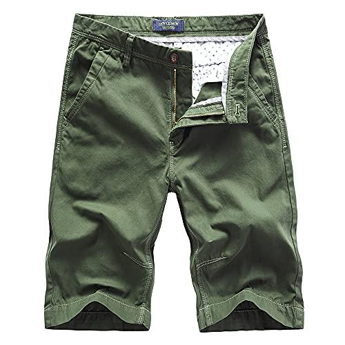 Naxxramas Pantalones Cortos de Hombres Moda Clásico Diseño Pantalones Cortos Chinos (Verde,32,32)