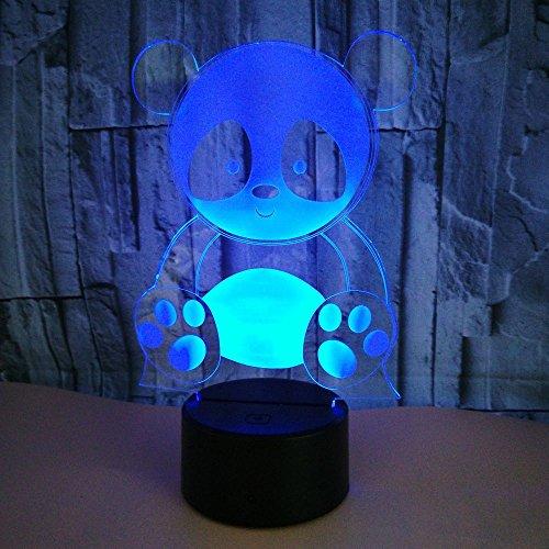 3D LED Panda nachtlampje, 7 kleuren touch-schakelaar, nachtlampje met afstandsbediening en USB-kabel, perfect cadeau voor kinderen