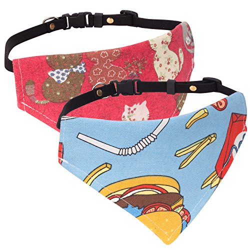 Pawaboo hundehalsband, [2Stück] Einstellbar Hunde Halsband Weihnachten Hunde Tuch Halstuch lätzchen dreiecks für Katze, Hunde, Welpeln, Blau & Rot, S, Für 21,6cm-35,6cm