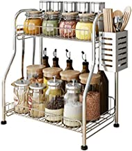 Kitchen Spice Racks, 2-Tier Standing Bathroom Shelf Kitchen Countertop Storage Organizer Jars Bottle Sauce Seasoning Rack ...