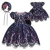 Gaga city Baby Spitzen Kleid Taufkleider Prinzessin Bowknot Blumenmädchenkleid Taufkleid Kleid Hochzeit Festzug Geburtstag Partykleid mit Mütze Dunkelblau/12M/73CM