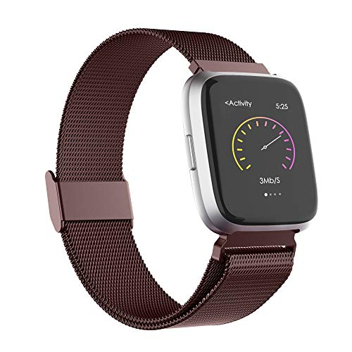 Recoppa for Fitbit Versa Strap,Stainless Steel Metal Mesh Bands with Unique Lock Compatible for Fitbit Versa//Versa 2// Versa Lite//Versa SE Small Large Women Men