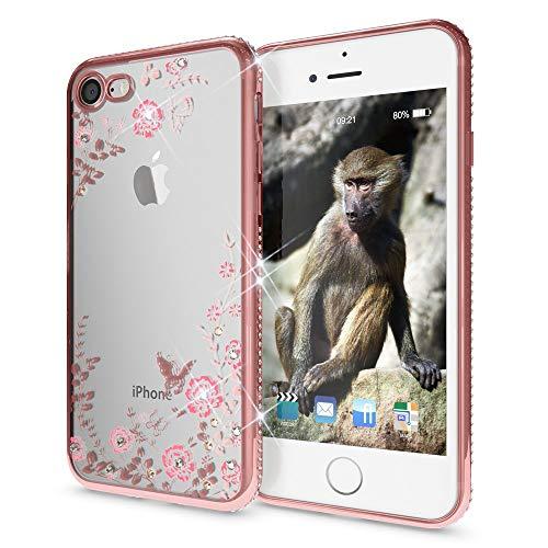 NALIA Brillantini Custodia compatibile con iPhone SE 2020/8 / 7, Glitter Copertura Protezione Silicone Sottile Telefono Cellulare Slim Fiori Cover Case Protettiva Bumper, Colore:Rosa
