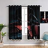 Sdustin Star-Wars - Cortinas opacas para sala de estar, 253 x 243 cm, diseño de sable de luz, para sala de estar, dormitorio