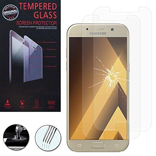ANNART [2 Piezas Protector de Pantalla de Vidrio Templado para Samsung Galaxy A5 (2017) 5.2'A520F/A5 (2017) Dúos [Las Dimensiones Exactas Del Teléfono: 146.1 x 71.4 X 7.9MM ] - Transparente