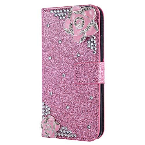 Stand Funktion für iPhone 6S iPhone 6, Diamond Sparkle Billig Glitter Glitzer Musterg Soft Retro Flip Leder Bookstyle Karteneinschub Magnet Wallet
