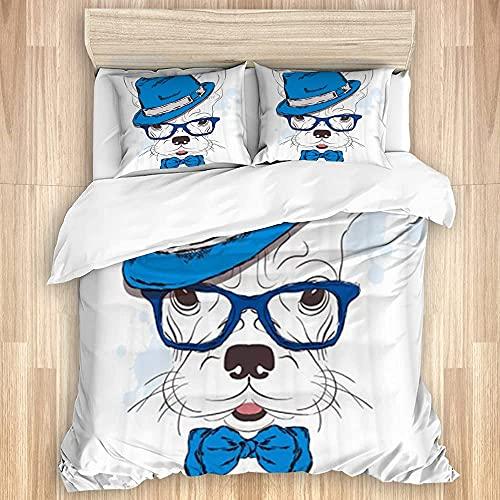 Nat999Lily Juego de Funda de edredón Lavado, Gafas de Perro Azul Blanco, Juego de Cama Suave de Lujo de 3 Piezas (sin edredón)