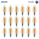 Philips LED B11 Warm Glow Dimmable 300-Lumen, 2700-2200 Kelvin, 4-Watt  (40-Watt Equivalent) Classic Glass Candle Light Bulb with E12 Candelabra Base, Soft White, 18-Pack