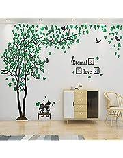ENCOFT 3D Pegatina de Árbol Vinilos Hojas Negros Marcos de Foto Adhesivo Decorativo de Pared para Dormitorio Hogar Oficina (L, verde 1)