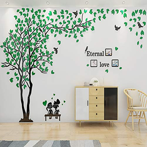 ENCOFT 3D Pegatina de Árbol Vinilos Hojas Negros Marcos de Foto Adhesivo Decorativo de Pared para Dormitorio Hogar Oficina (XL, verde 1)