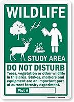2個 野生生物調査地域-この地域の樹木、植生、野生生物を邪魔しないでください標識8 'x12'金属